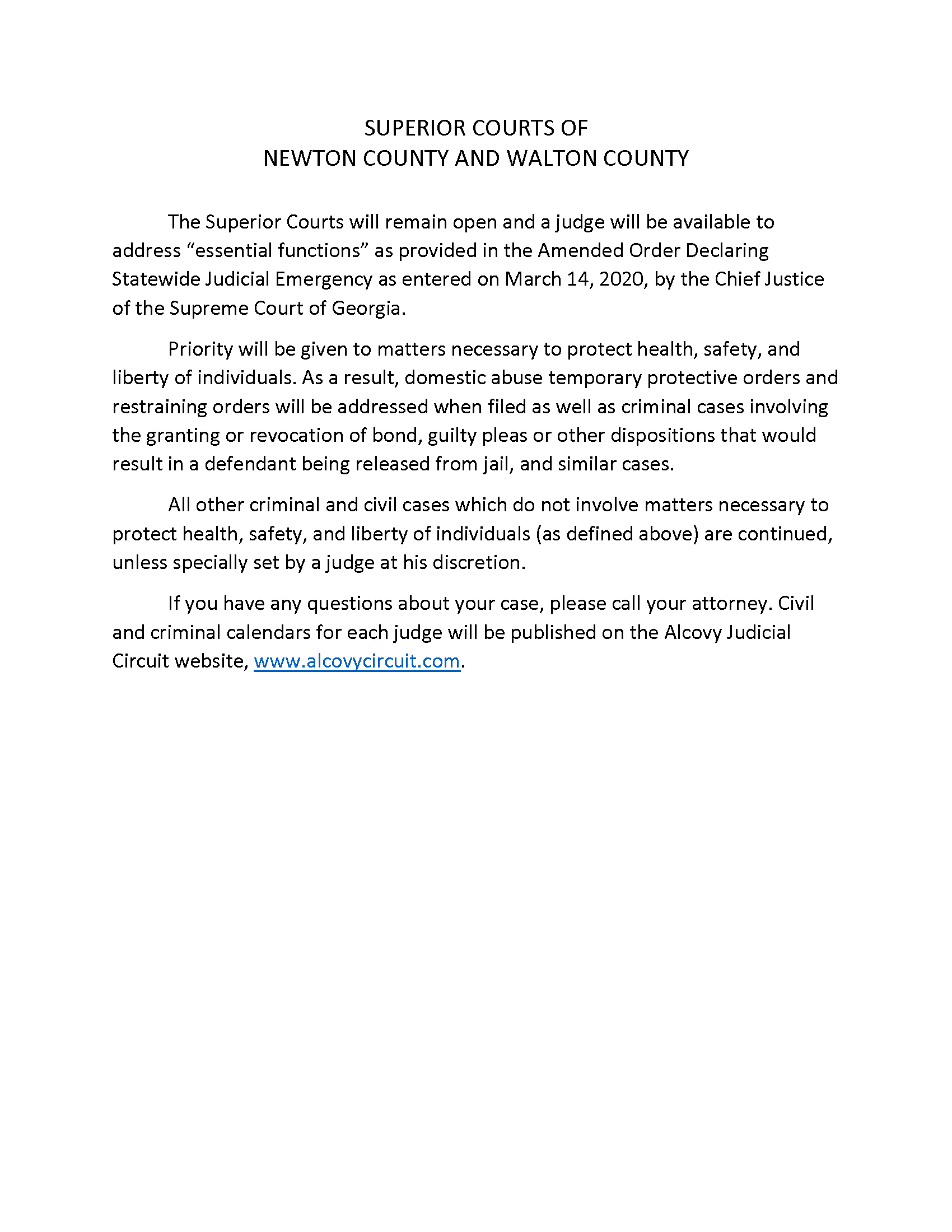 SUPERIOR COURTS PRESS RELEASE